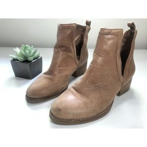 Jeffrey Campbell Leather Tan Slit Ankle Boots